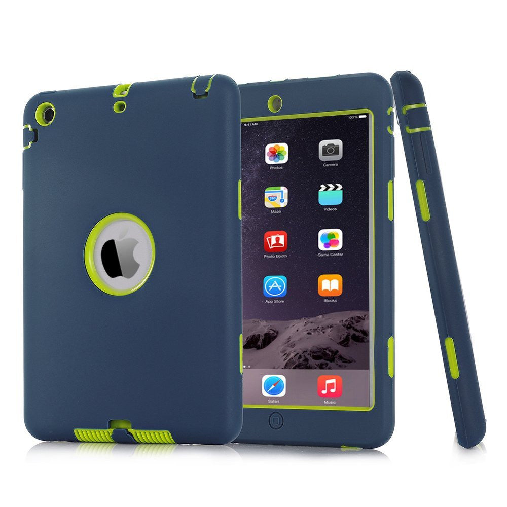 For iPad mini 1/2/3 Retina Kids Safe Armor Shockproof Silicone Hard Case Cover Screen Protector+Stylus Pen