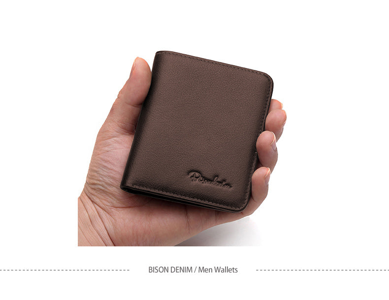 BISON DENIM Genuine Leather Slim Mini Wallet