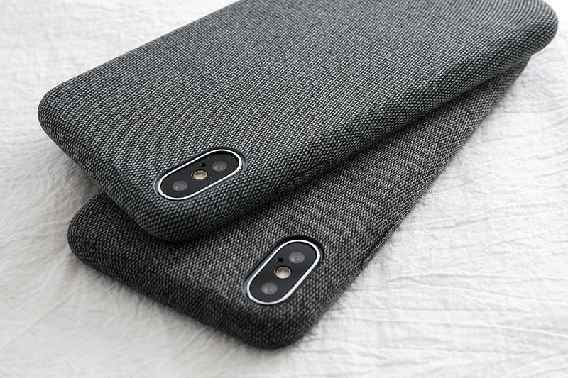 pretty nice 27494 efb6c Cloth Texture Soft TPU case For iPhone X Xs Xr Max Ultra-thin Canvas  Silicone Cover