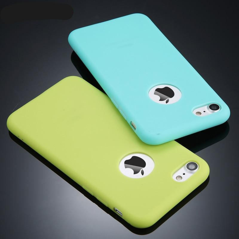Candy Colour Phone Case For iPhone Soft Silicon TPU Back Cover