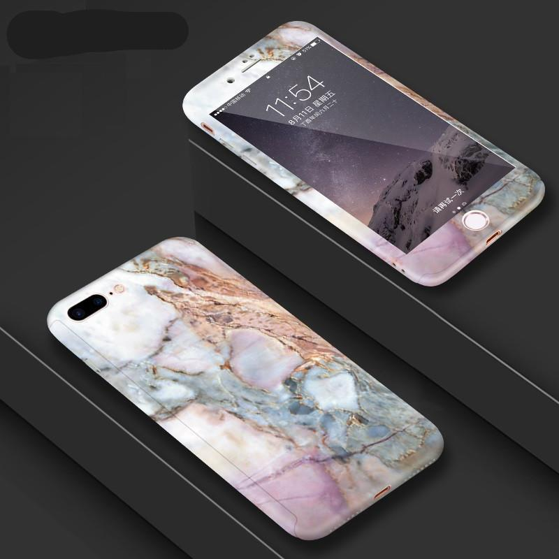 360 Degree Full Body Protection Marble Stone Painted Hard Case