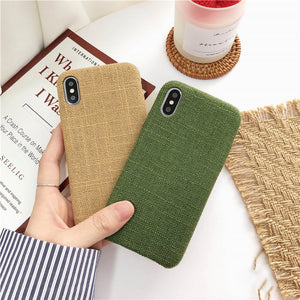 Cloth Texture Soft TPU case For iPhone 6 7 & 6 7 Plus Ultra-thin Canvas Silicone Cover