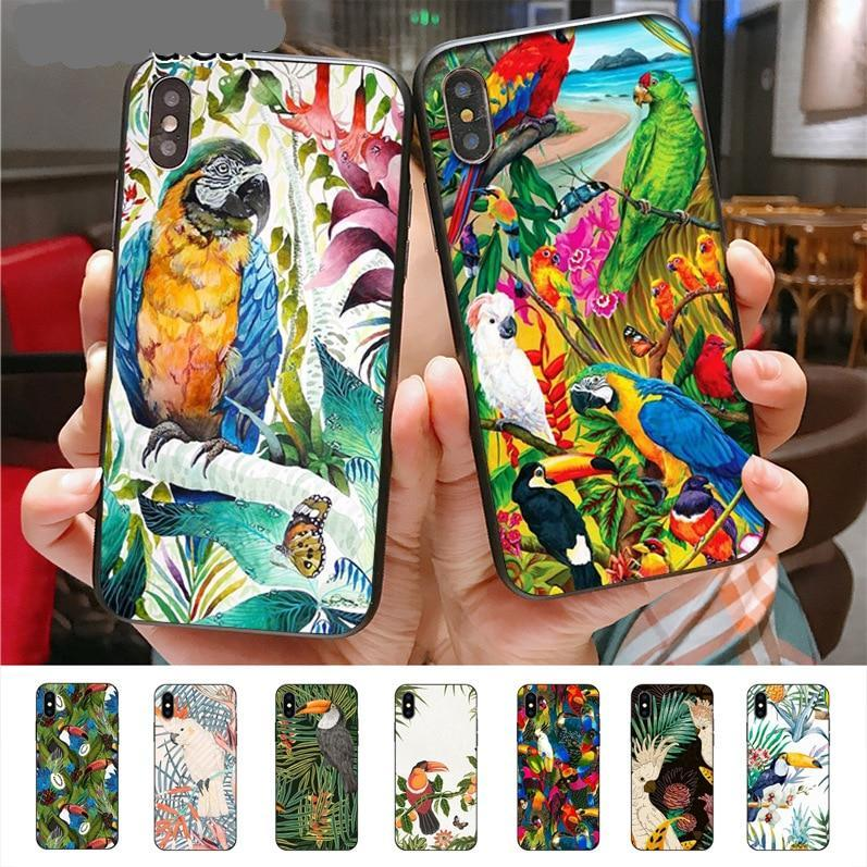 Tropical plants Toucan Parrot design thin Case for iPhone