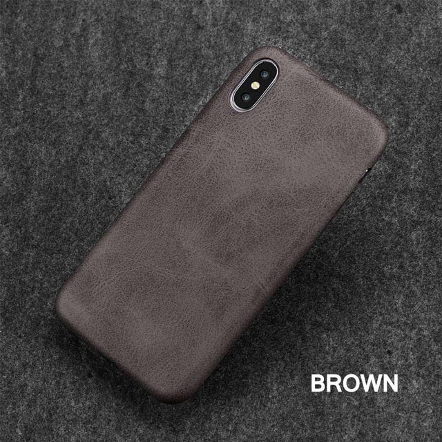 Plain PU Leather iPhone Case for iPhone 6 6s 7 7 Plus 8 X Back Cover
