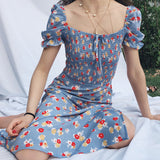 Retro square neck puff sleeve dress in a long skirt