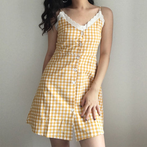 White small lace yellow plaid dress
