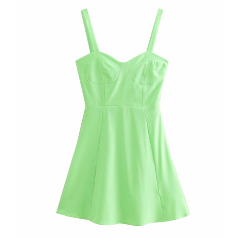 Fluorescent green suspender dress