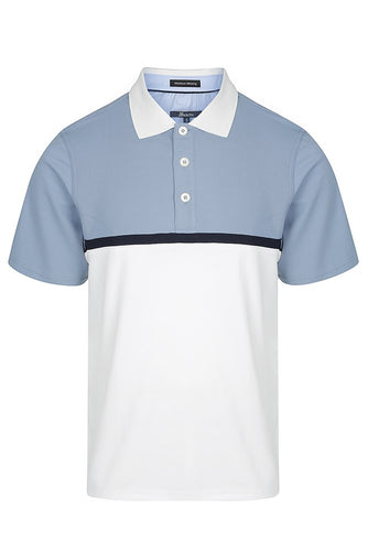 38 South Polo - Mens Pique Block Cooldry