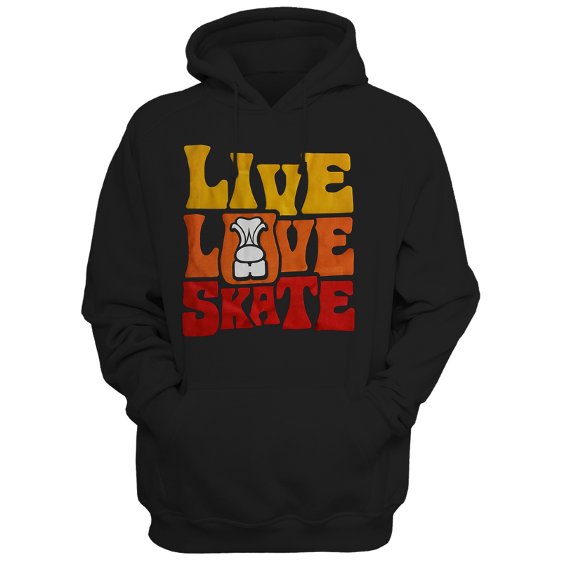 Live Love Skate Flock Hoodie - rob-scott-creates-original-rollers