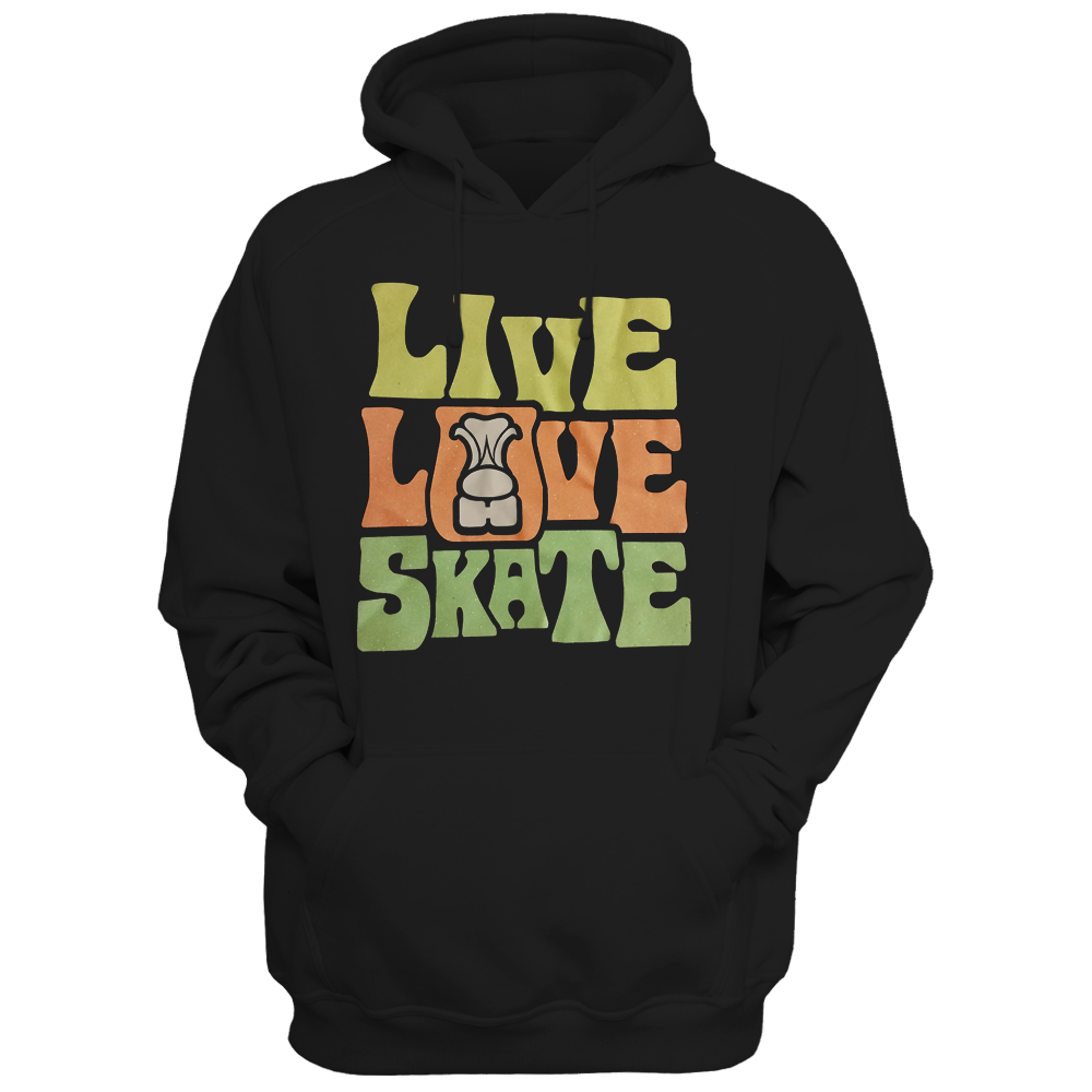 Live Love Skate Glitter Hoodie - rob-scott-creates-original-rollers