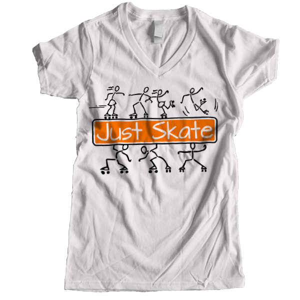 Just Skate 2 Women V-neck - rob-scott-creates-original-rollers