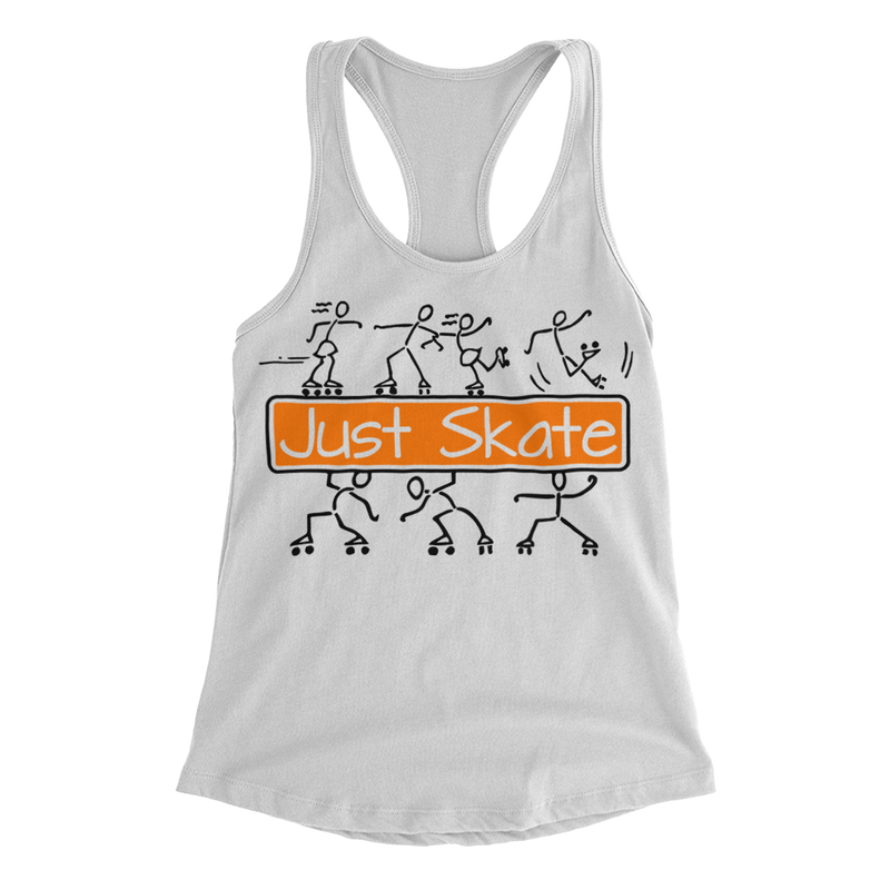 Just Skate 2 Women Racerback - rob-scott-creates-original-rollers