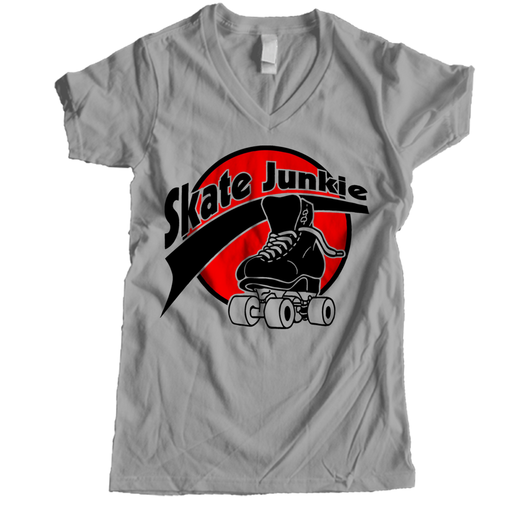 Skate Junkie Women V-neck - rob-scott-creates-original-rollers