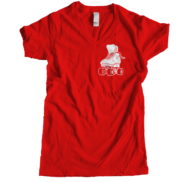 Big Skate Women V-neck - rob-scott-creates-original-rollers