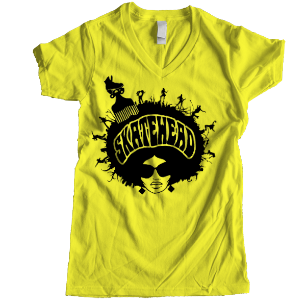 Skatehead Women V-neck - rob-scott-creates-original-rollers