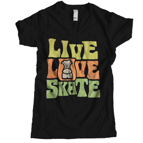 Live Love Skate Glitter V-neck - rob-scott-creates-original-rollers