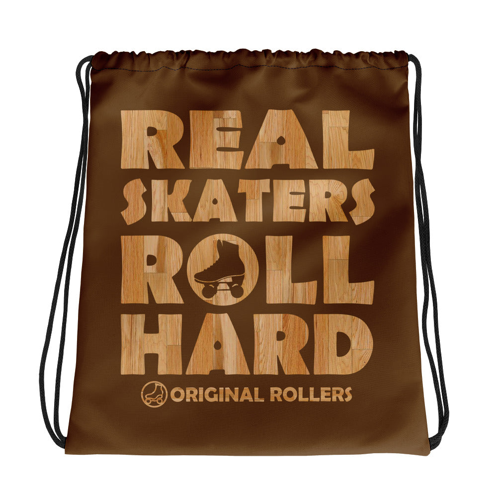 Roll Hard Brown Drawstring bag