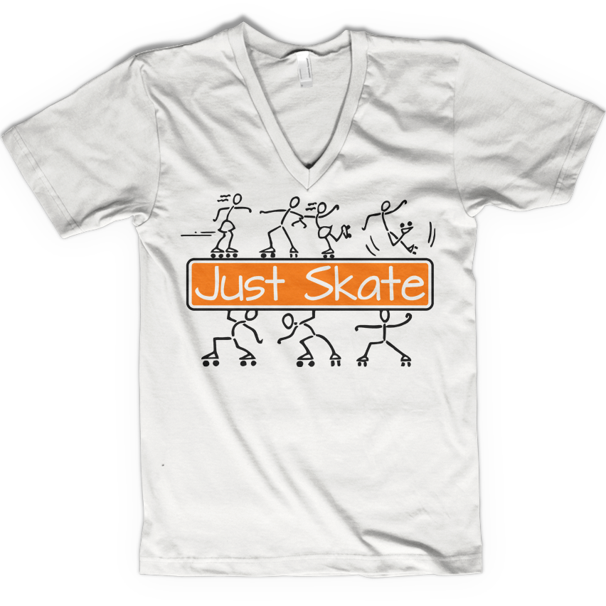 Just Skate 2 V-neck - rob-scott-creates-original-rollers