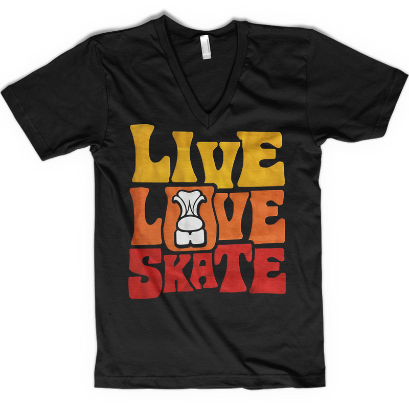 Live Love Skate Flock V-neck - rob-scott-creates-original-rollers