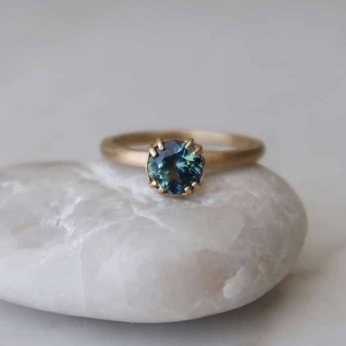 Blue Green Sapphire 8 Prong Ring | 14K Yellow Gold
