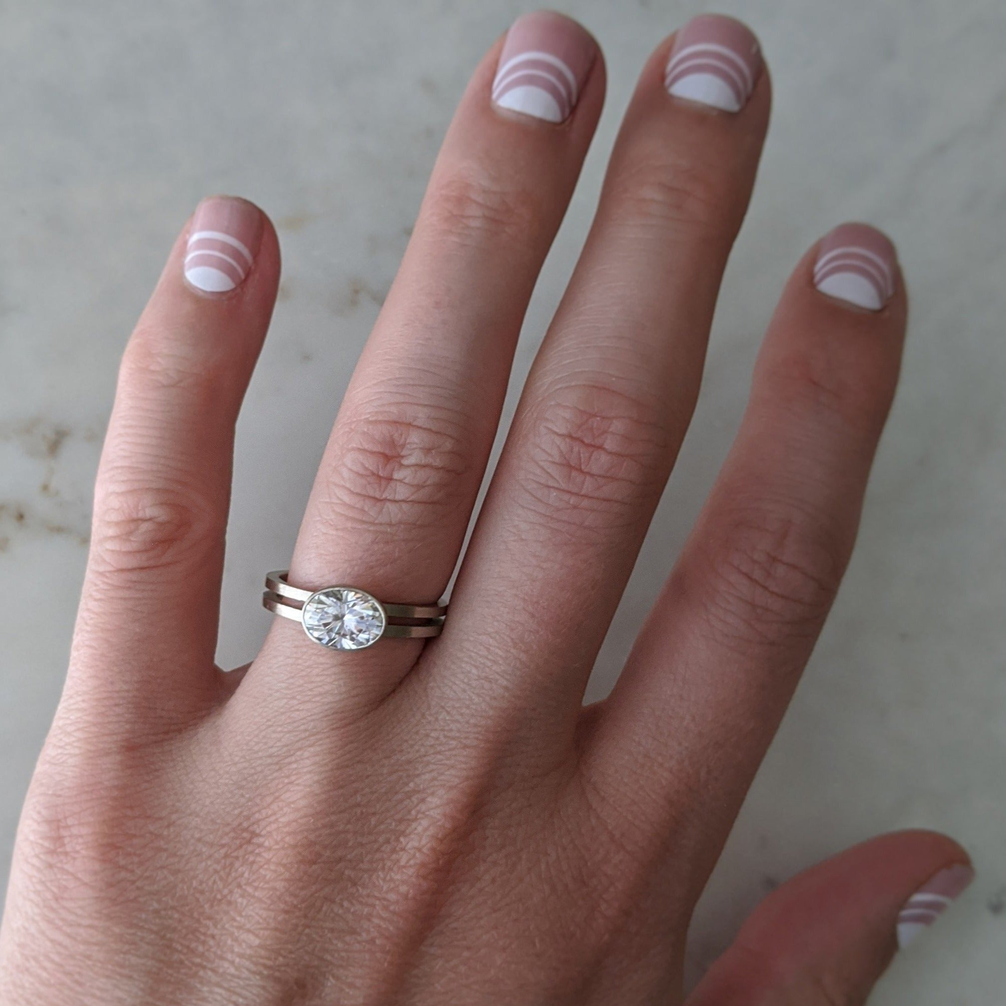 East + West Oval Moissanite Double Band Ring