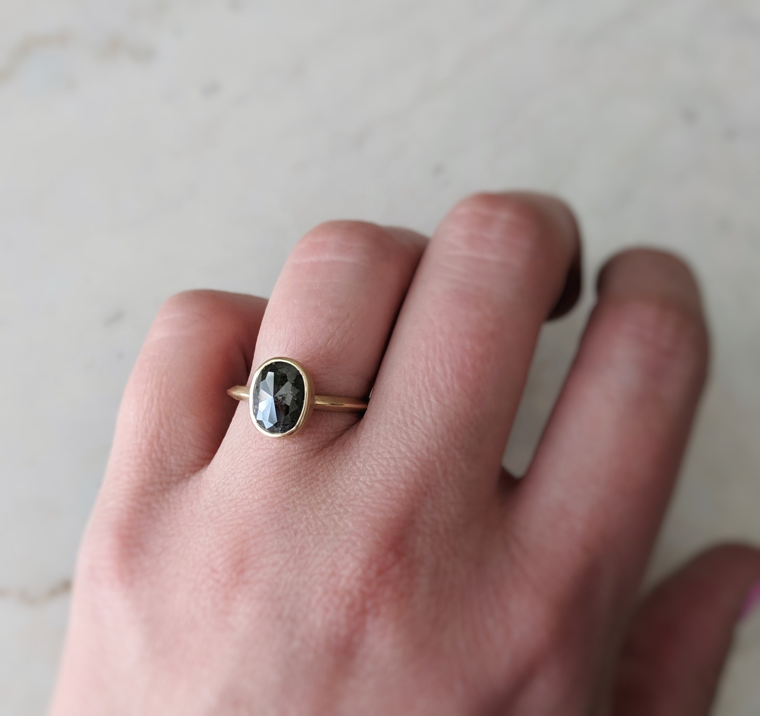 Oval Salt & Pepper Diamond Ring 14K Gold | Unique Engagement Ring