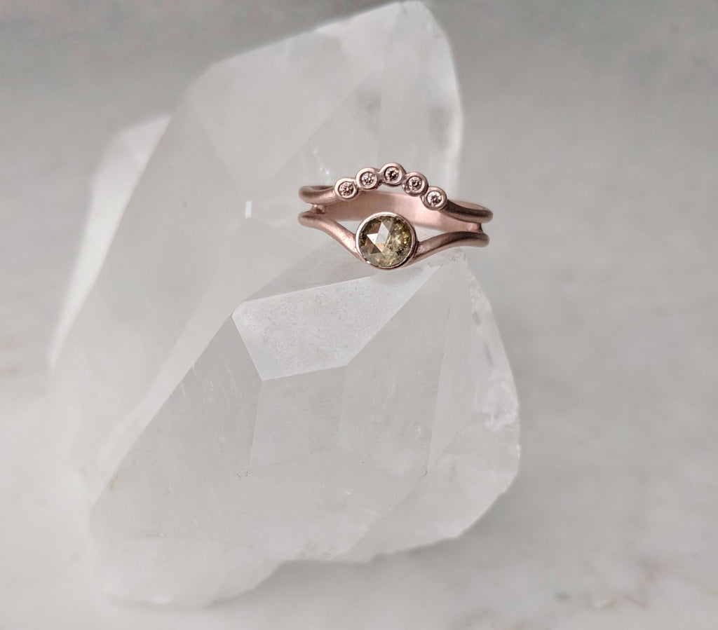 Chartreuse Green Diamond Ring with Floating Accent Band | 14K Rose Gold