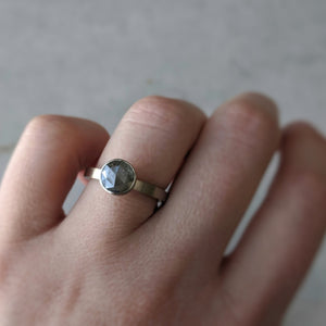 Big Grey Round Diamond Floating Bezel Ring | 14K White Gold
