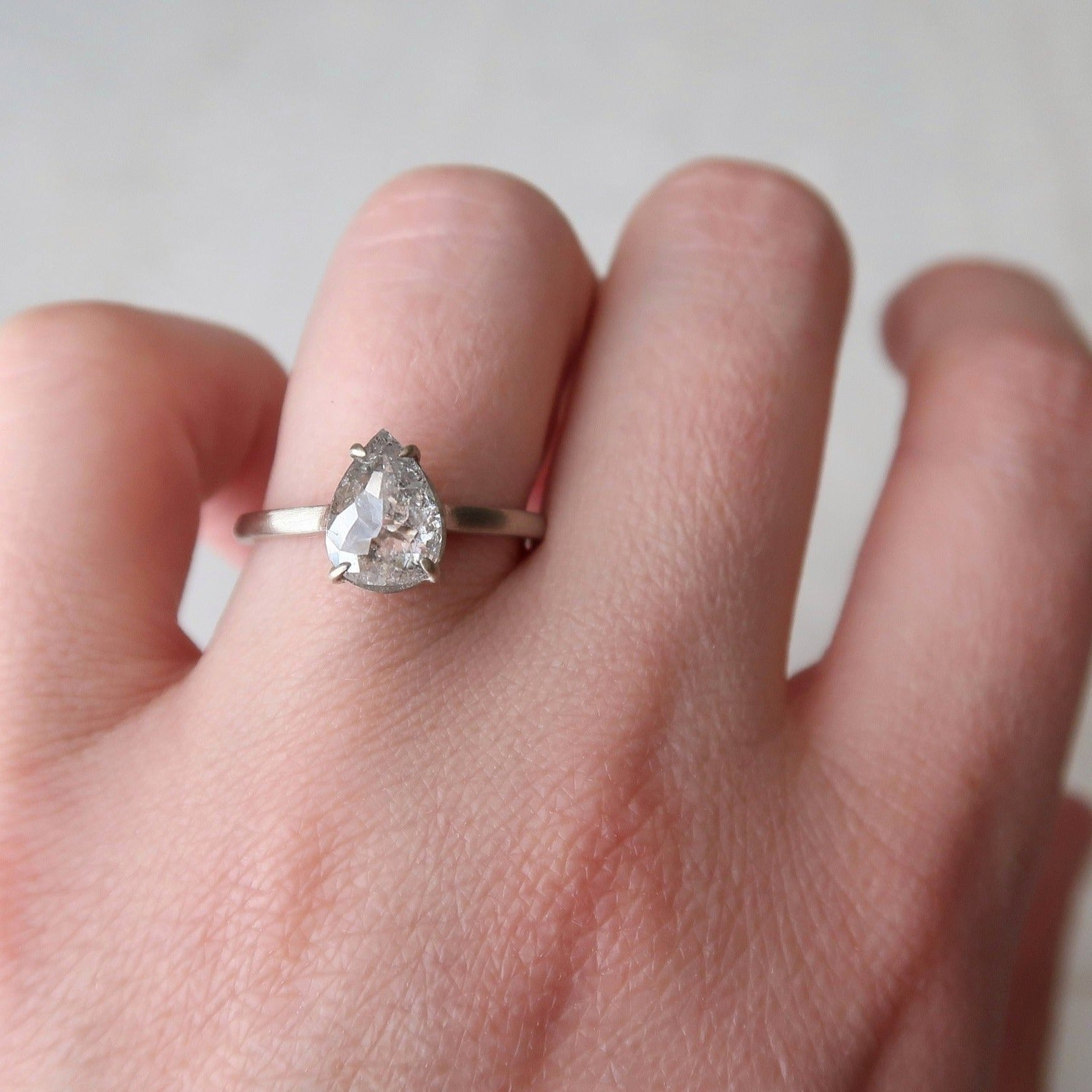 1.81 Ct Icy Pear Diamond Ring | 14K White Gold