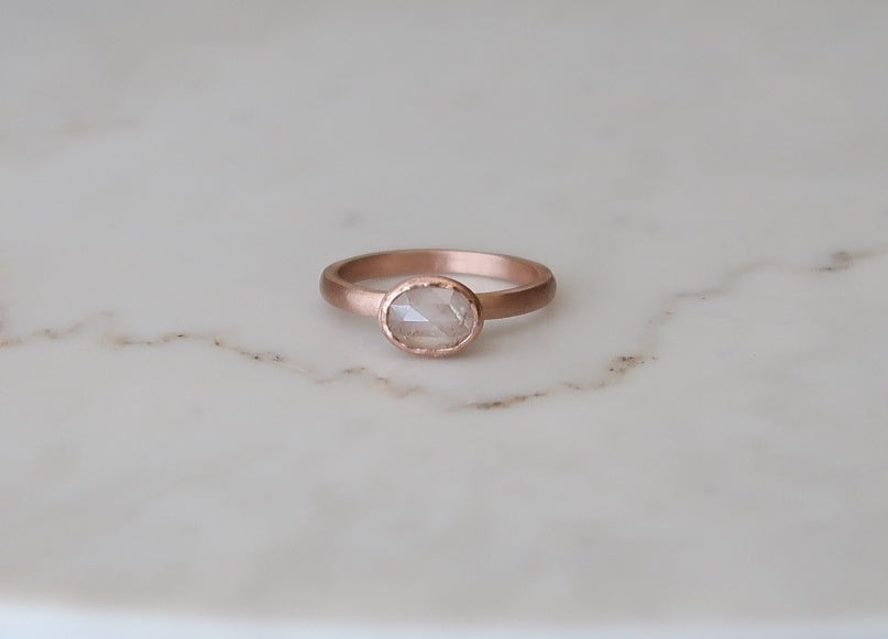 Creamy Oval Diamond Ring | 14K Rose Gold