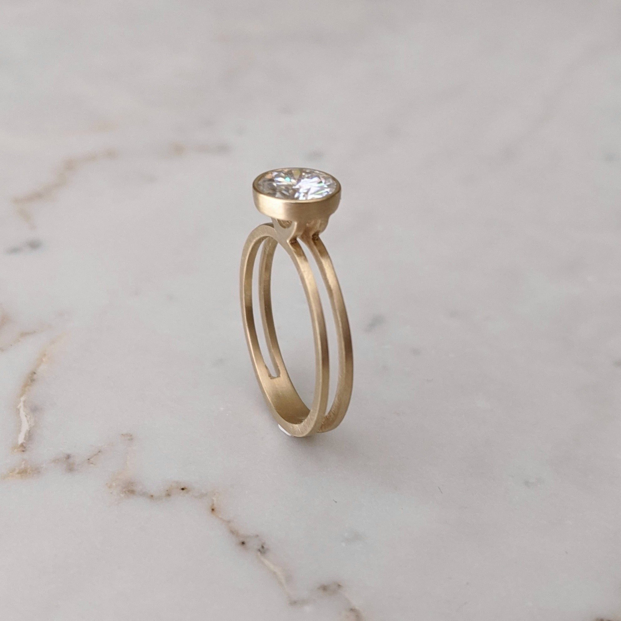Moissanite Double Band Floating Bezel Ring | 14K Yellow Gold