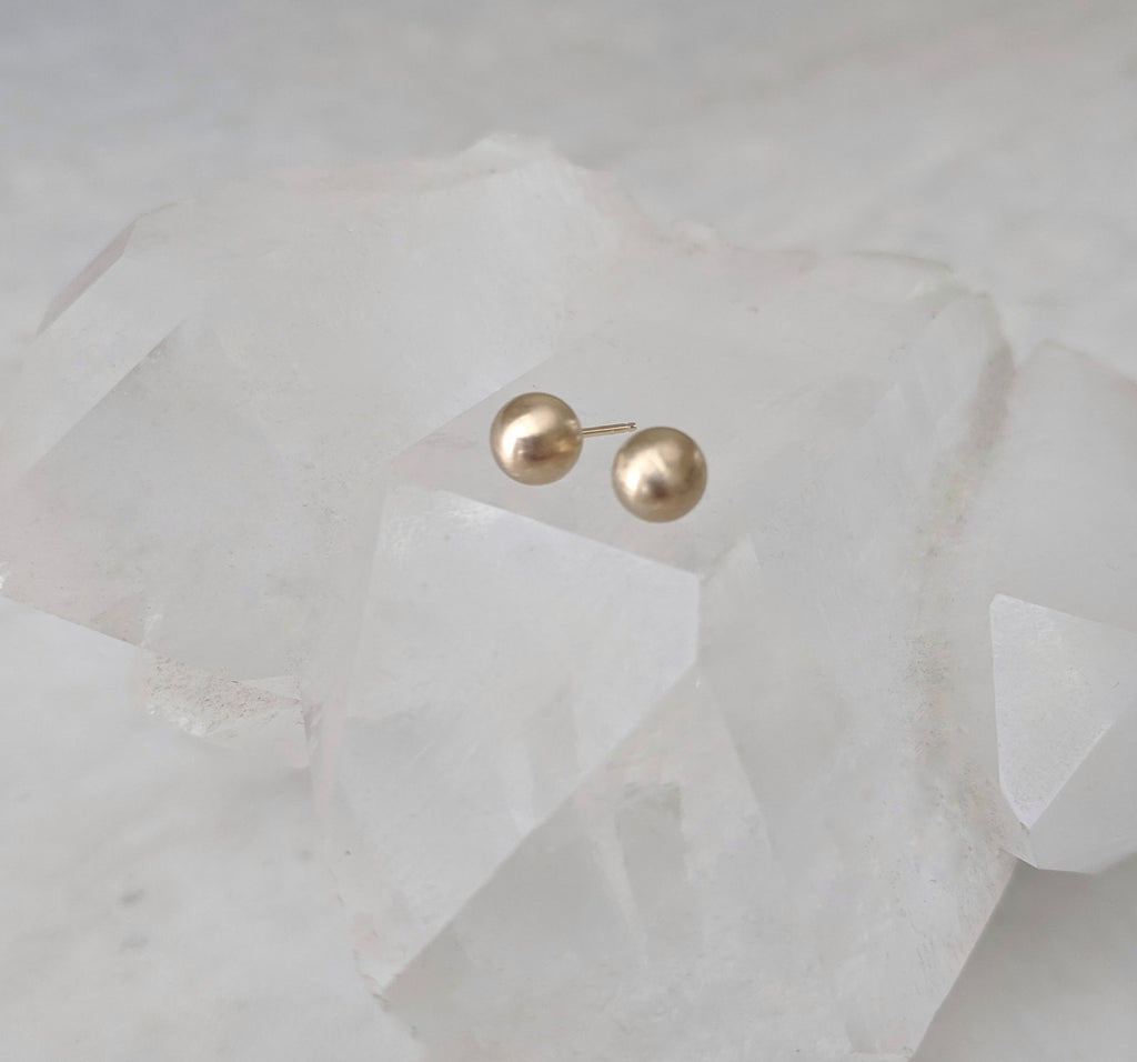 Gold Sphere Studs | 14K Yellow Gold