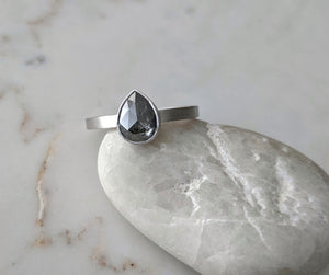 Salt & Pepper Pear Diamond | 14K White Gold