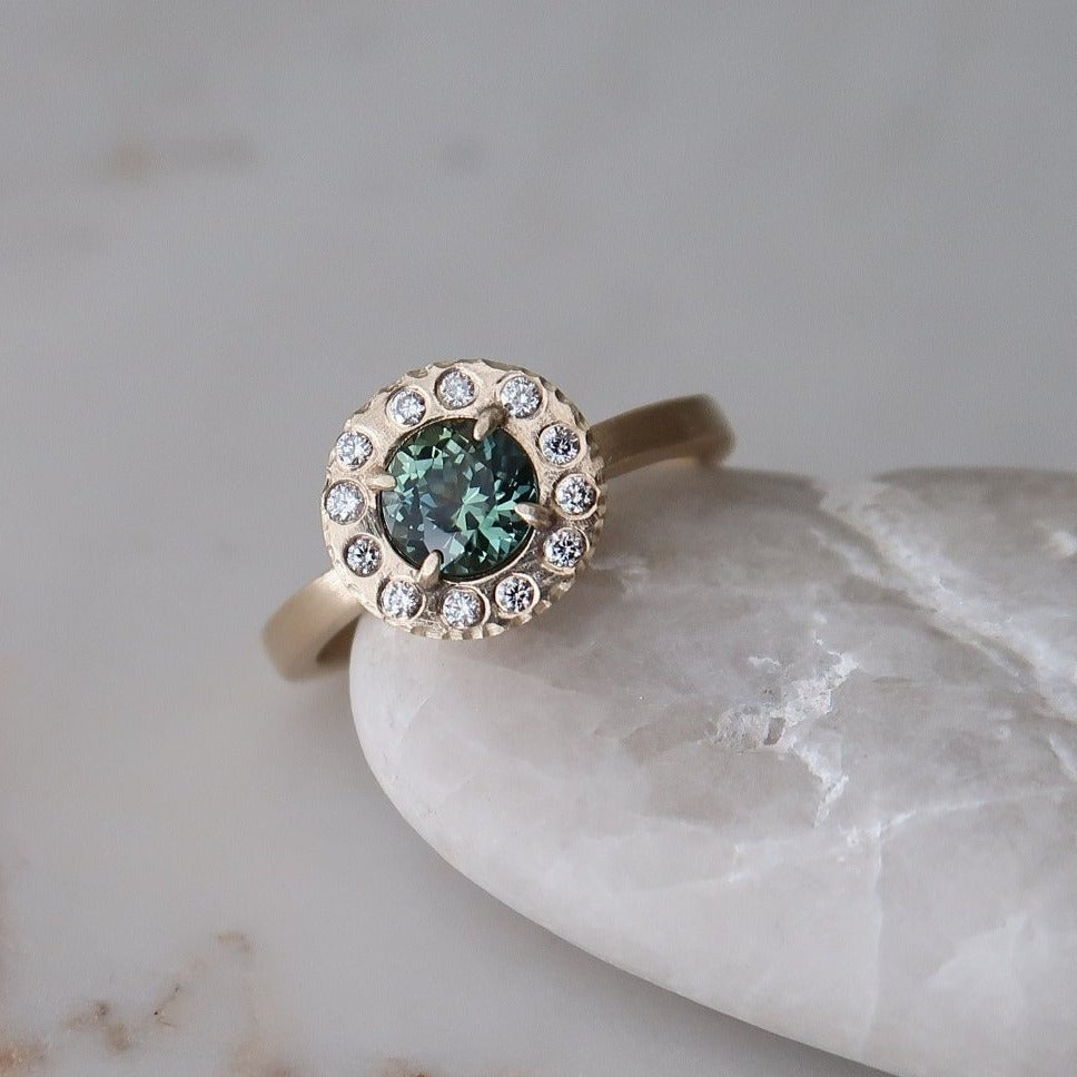 Teal Sapphire Halo Ring | 14K Yellow Gold
