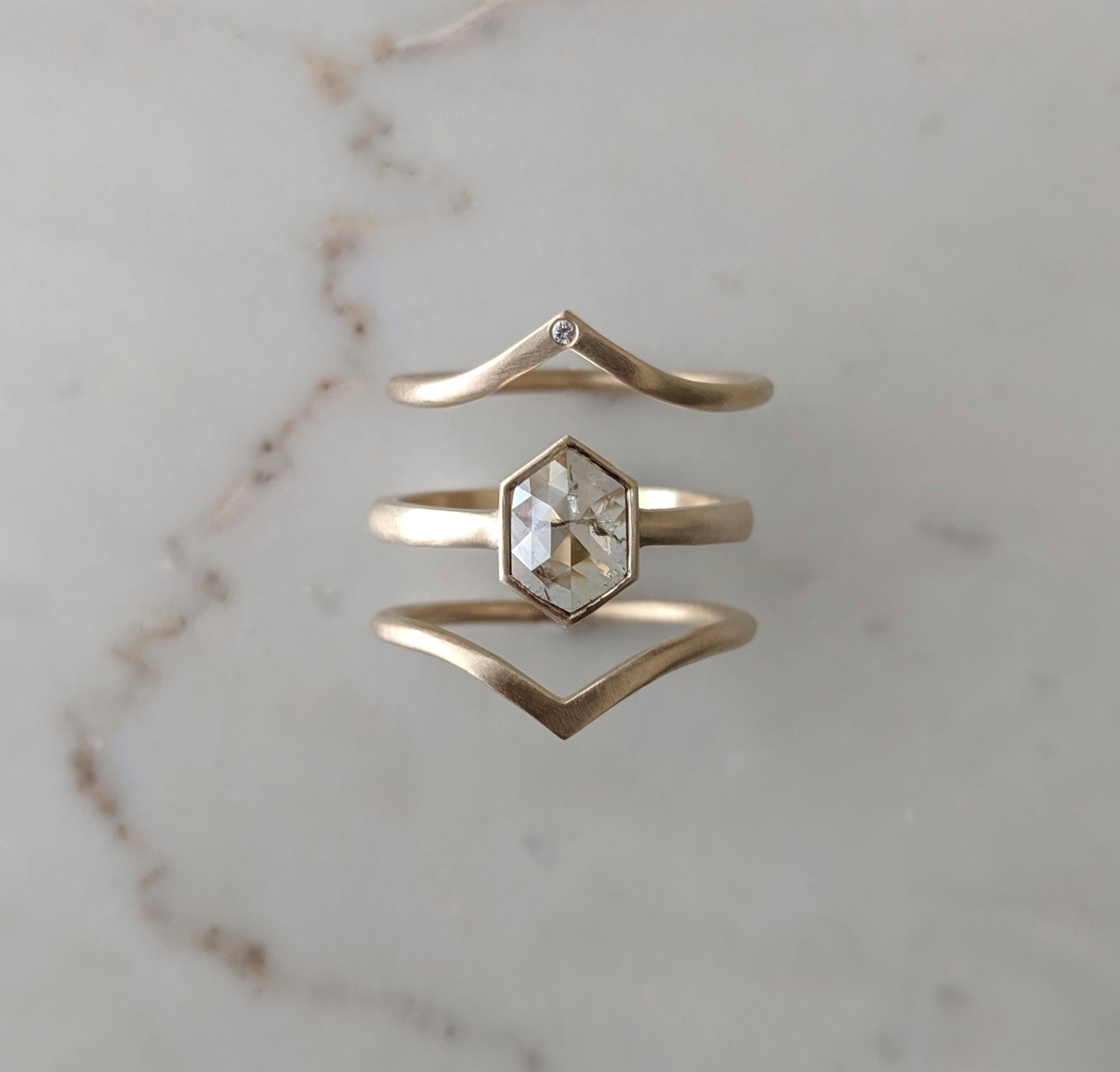 50% Payment for Terry - Hex Diamond Ring Set | Yellow Gold