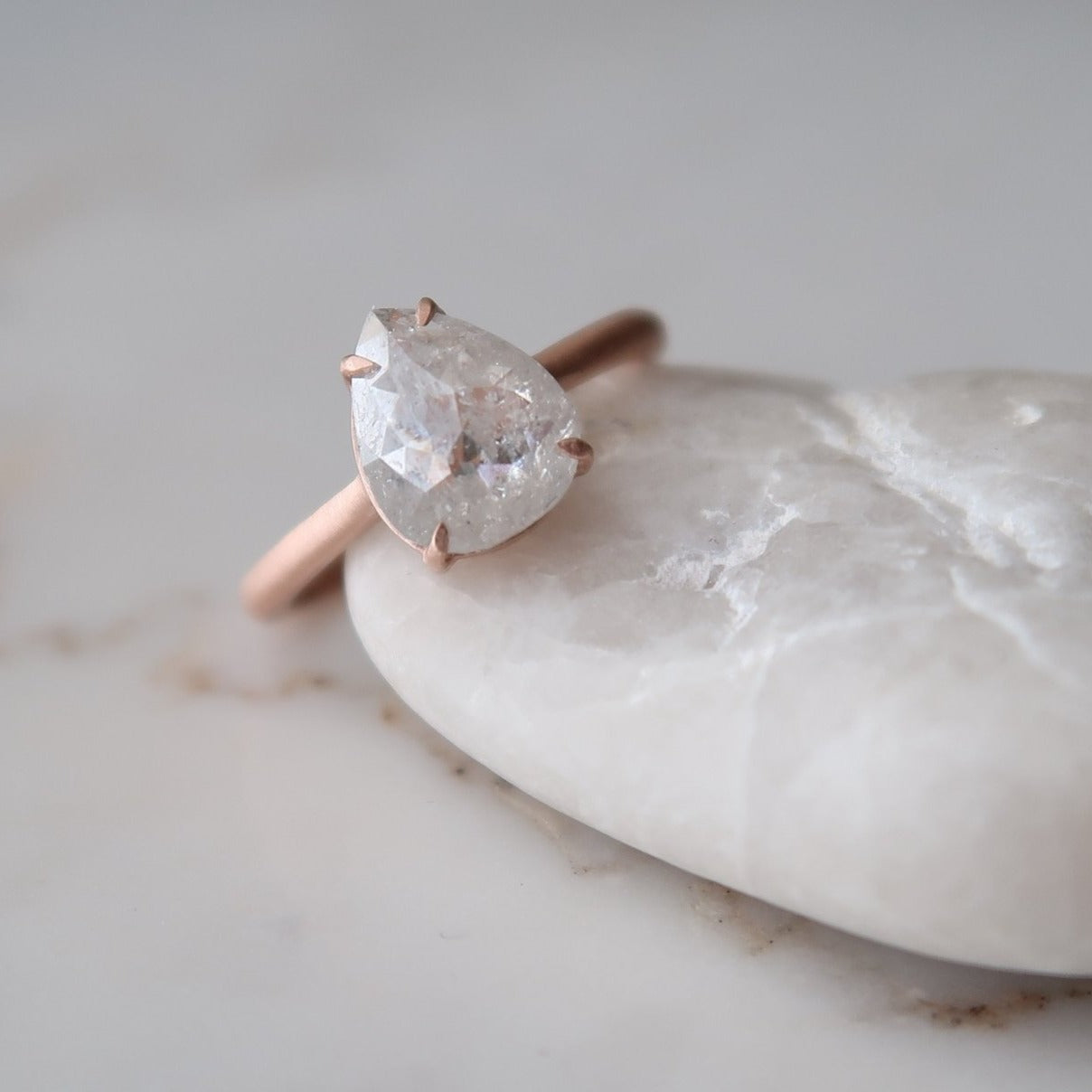 2.00 Carat Icy Pear 4 Prong Ring | Rose Gold