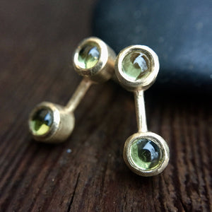 Peridot 14K Yellow Gold Spacer Stud Earrings