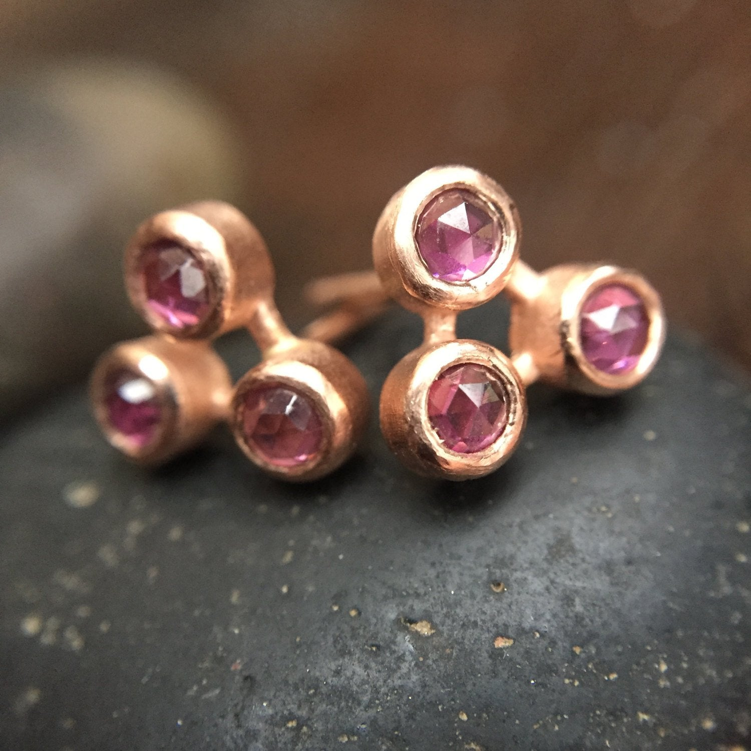Trinity Rose Cut Garnet Stud Earrings in 14K Rose Gold Boho Stud Earrings Fine Jewelry Rose Cut Earrings Pink Gold Bezel Stud Earrings