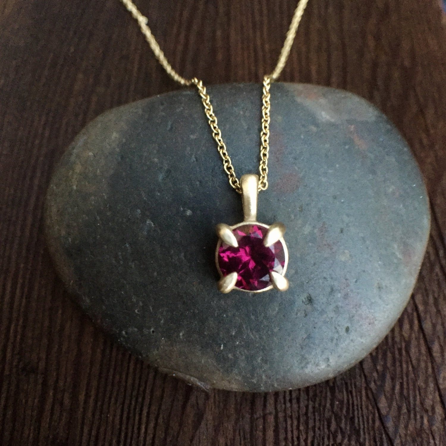 Rhodolite Garnet Pendant in 14K Yellow Gold Boho Layering Necklace Yellow Gold Necklace Fine Jewelry Dainty Modern Necklace Gold Necklace
