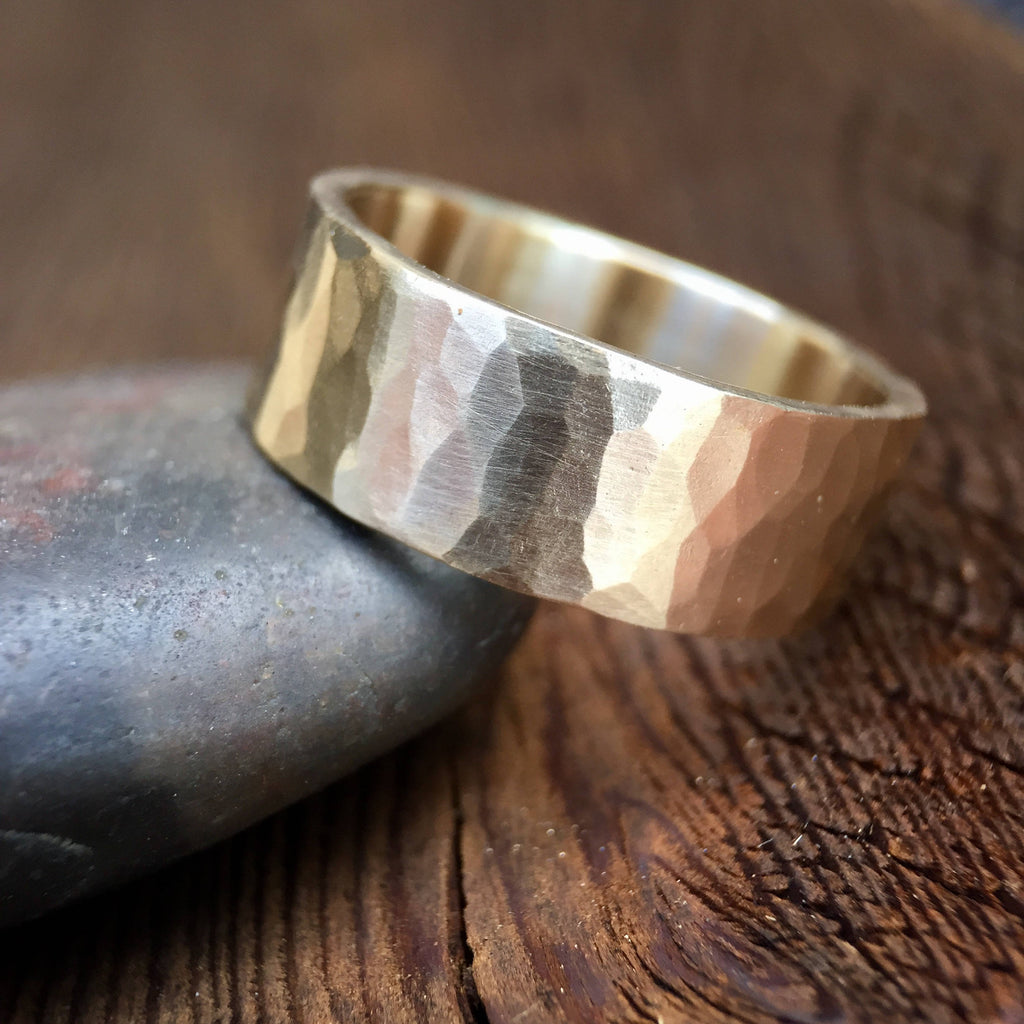 Men's 8mm Hammered Band in 14K Yellow Gold