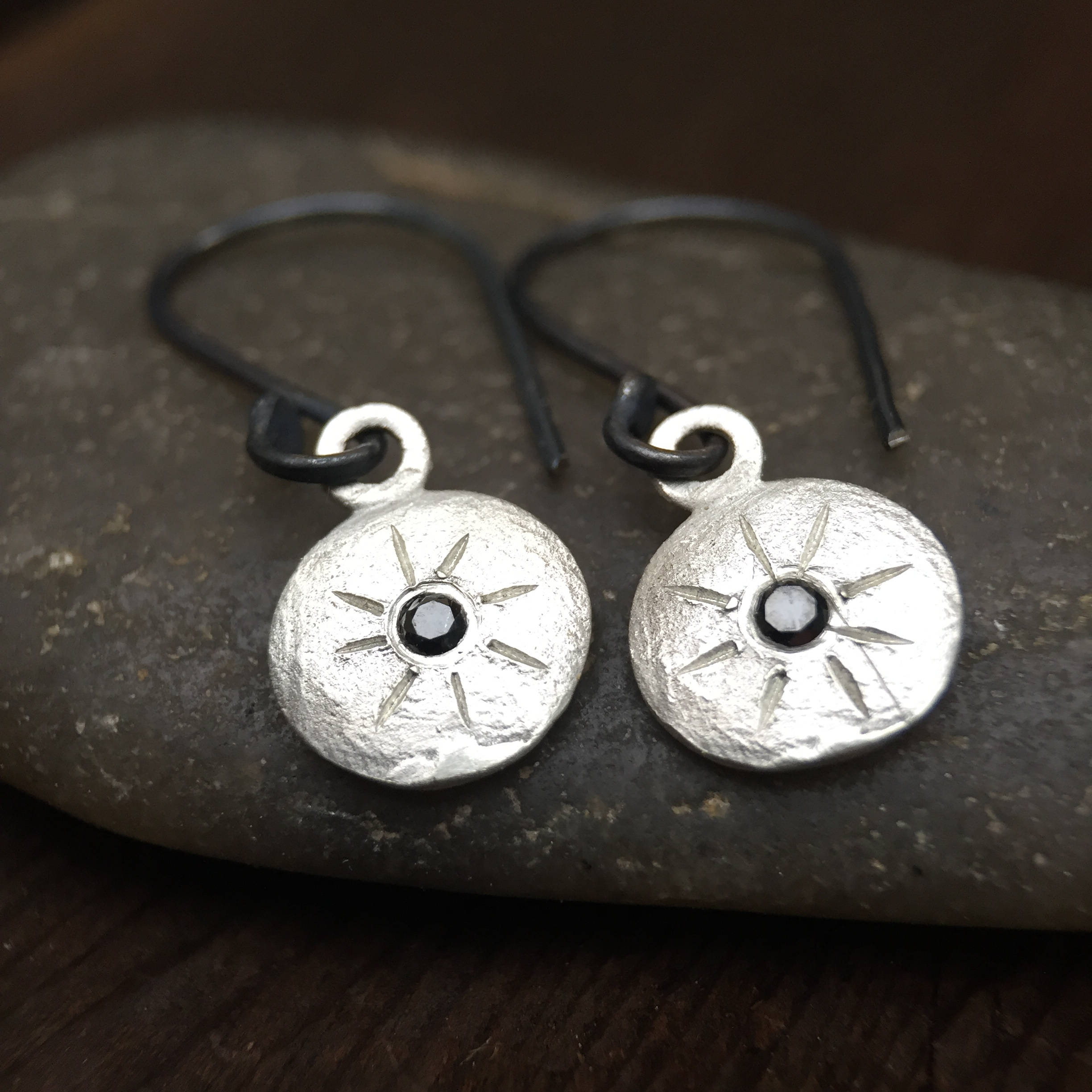 Black Diamond Starburst Coin Drop Earrings Sterling Silver Drop Dangle Earrings Minimal Jewelry Rustic Earrings Sterling Black Diamonds