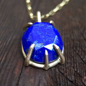 Lapis Lazuli Pendant Necklace Prong Setting 14K Yellow Gold Blue Gemstone Necklace Fine Jewelry Gold Necklace Gemstone Pendant Boho Jewelry