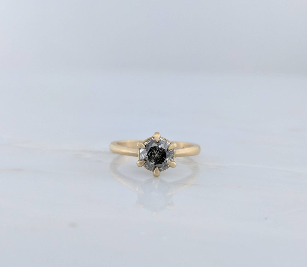 Salt and Pepper Diamond Ring in 14K Yellow Gold
