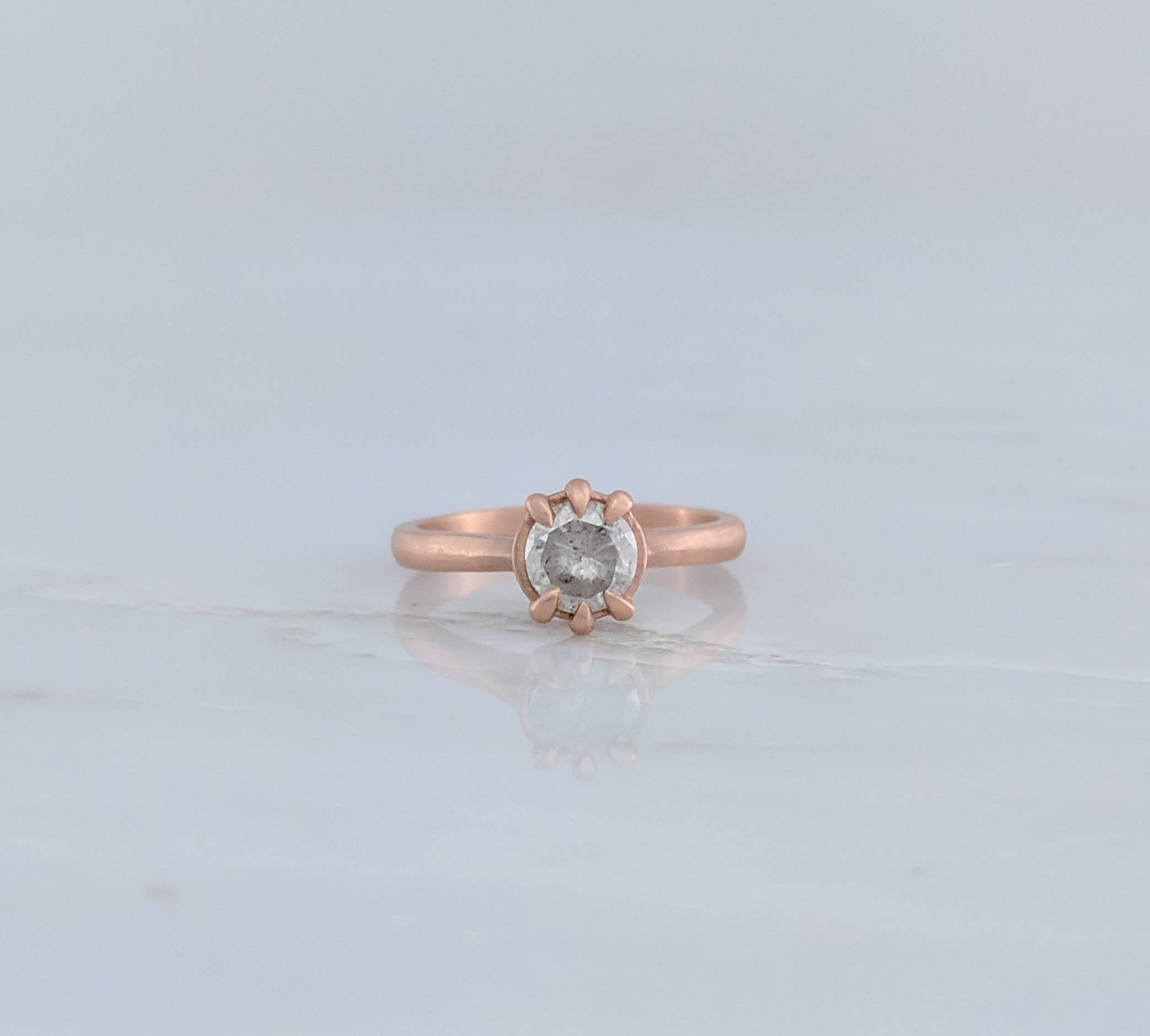 Gray Diamond Ring in Rose Gold