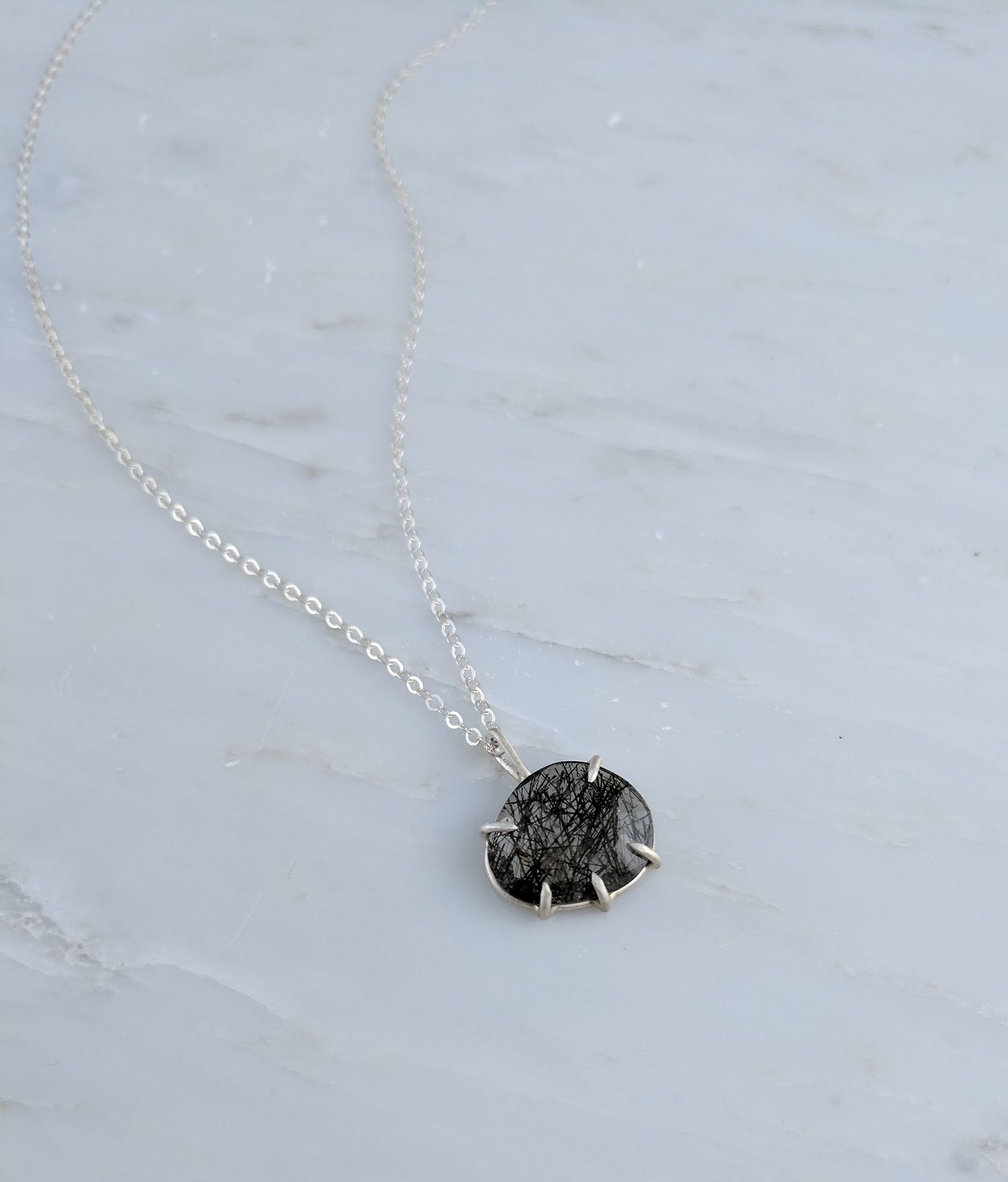 Black Rose Cut Tourmalinated Quartz Pendant Necklace Prong Set Sterling Silver Rustic Boho Layering Minimal Jewelry Black Gemstone Necklace