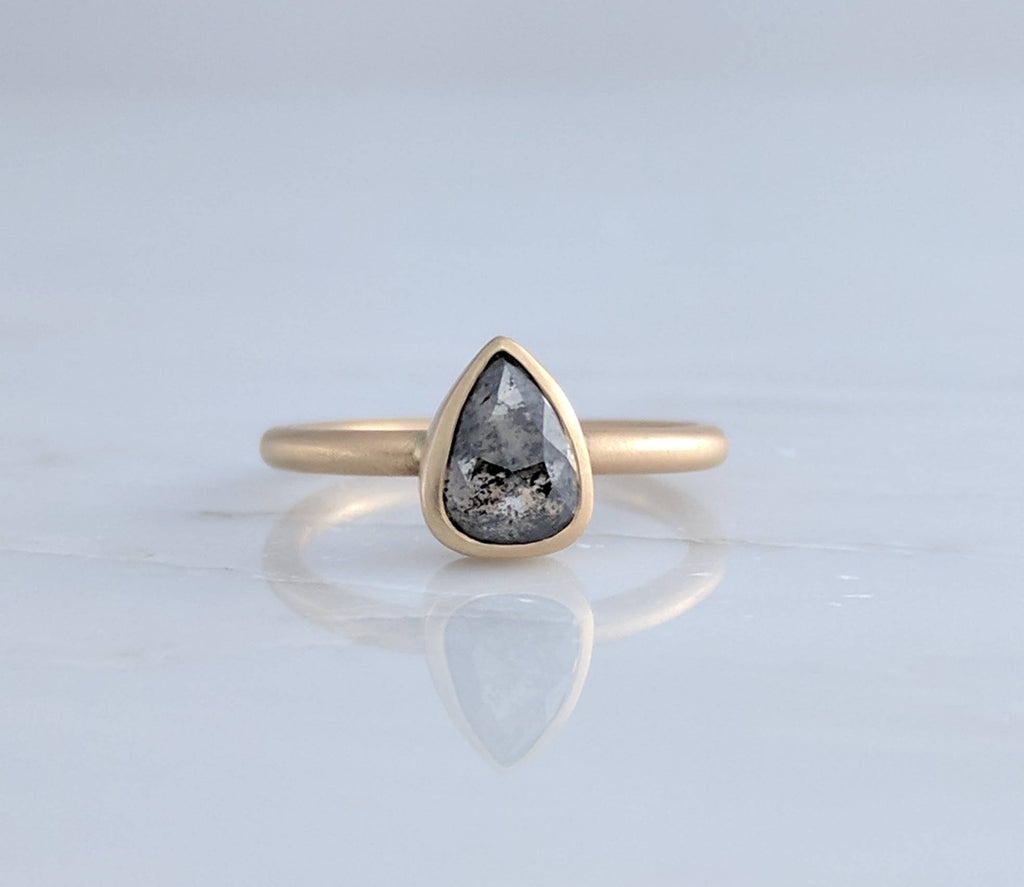 Salt Pepper Diamond Ring in 14K Yellow Gold