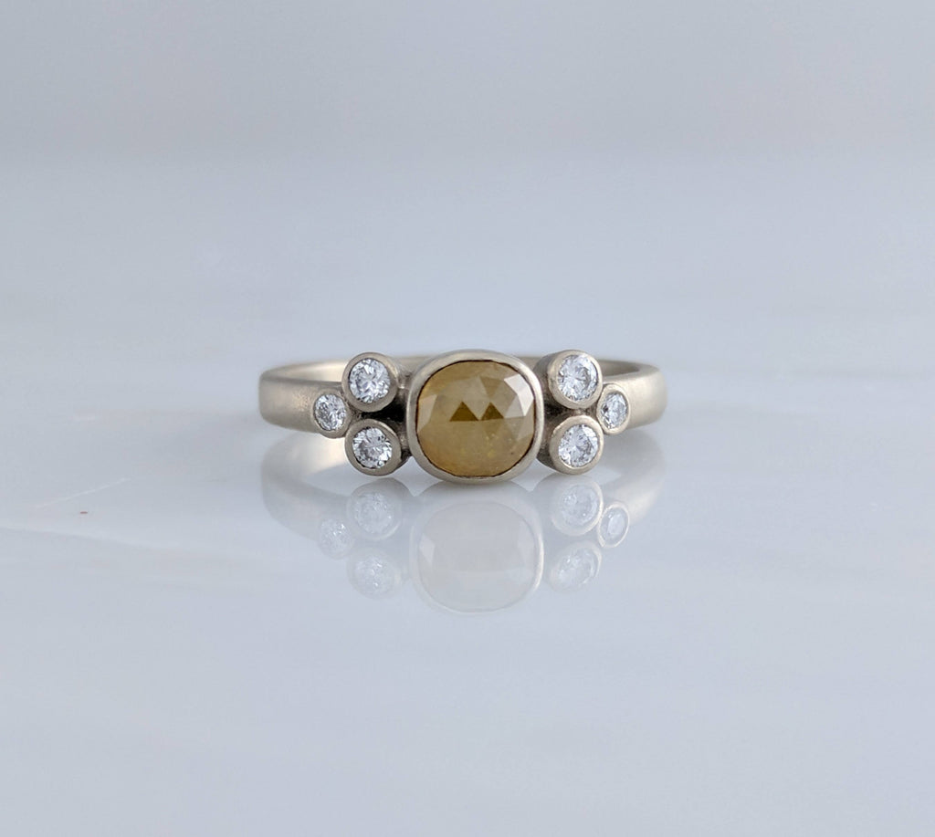 Golden Diamond Cluster Ring in White Gold