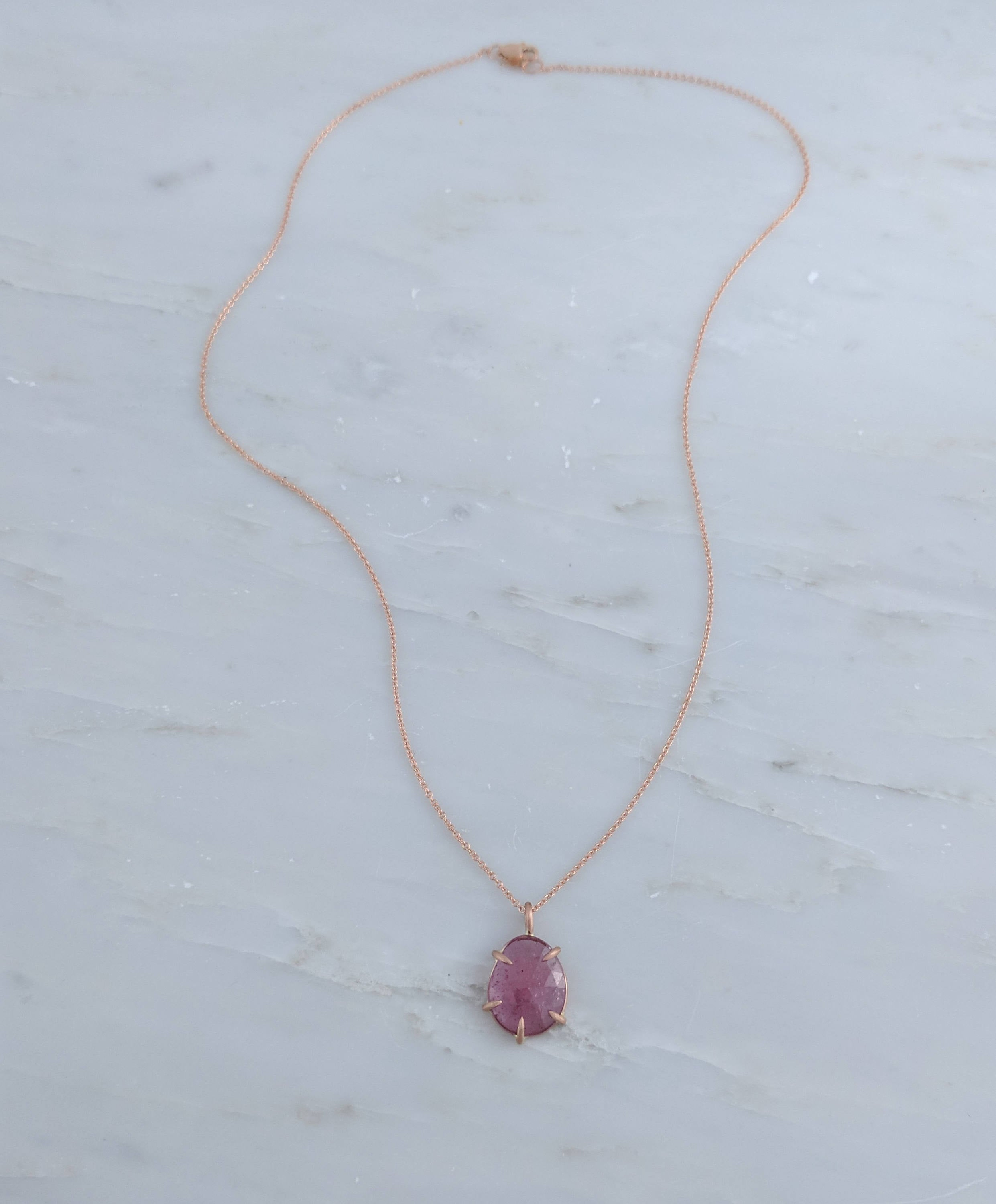 Rose Cut Sapphire Necklace in Rose Gold