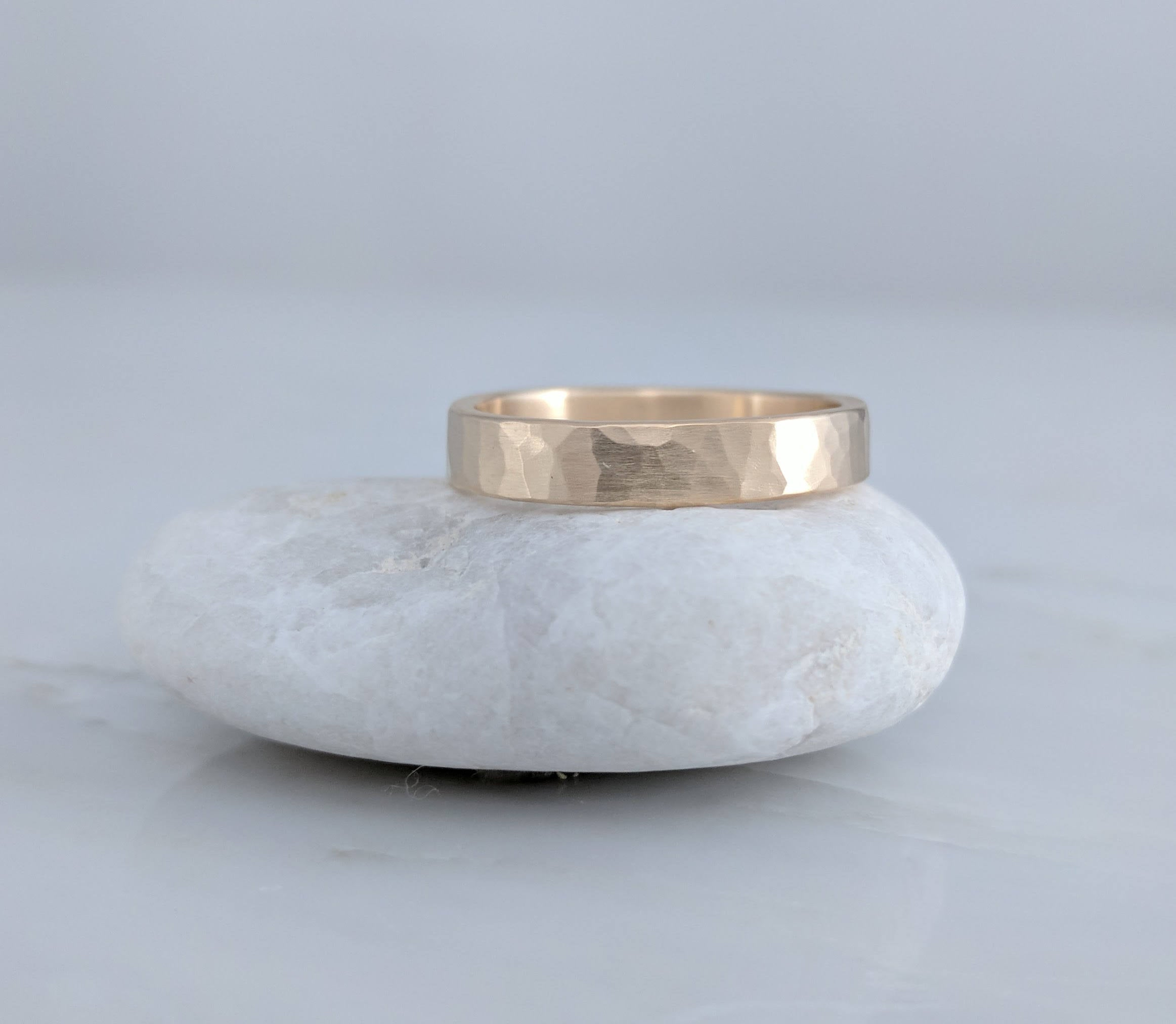 Solid 14K Gold Wedding Band | 4mm Band | Gold Band | Hammered Band | Gold Ring | Simple Wedding Ring | Yellow Gold | Minimal Ring