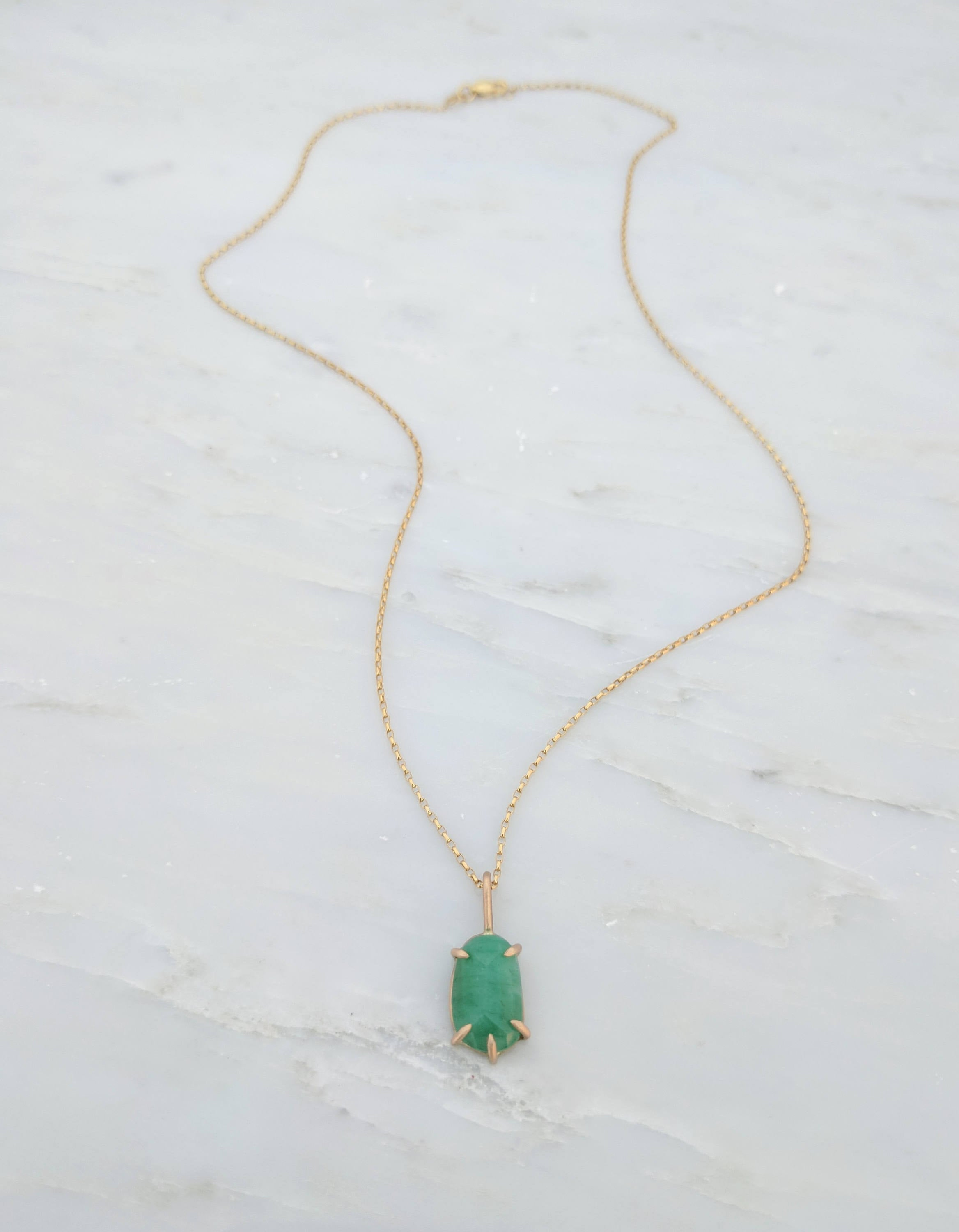 Rose Cut Natural Emerald Pendant Necklace